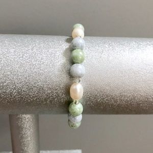 Cultured pearl, crystal, & stone bracelet